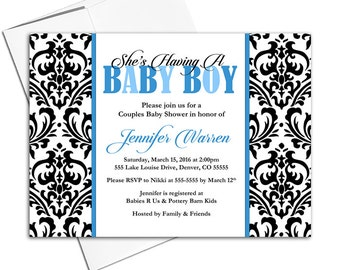 Damask Baby Shower Invitations Boys, Couples Baby Shower Invite, Black and White with Blue, DIY Printable - WLP00704