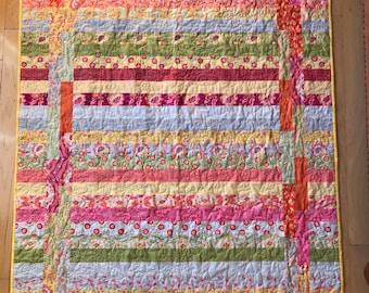 Colorful strip quilt, bright colored quilt,lap quilt, colorful quilt