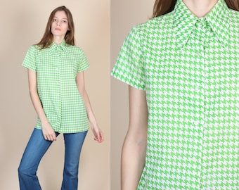 70s Houndstooth Button Up Shirt // Vintage Pointed Collar Green White Blouse