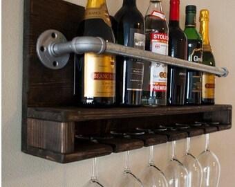 Industrial and wood wine rack