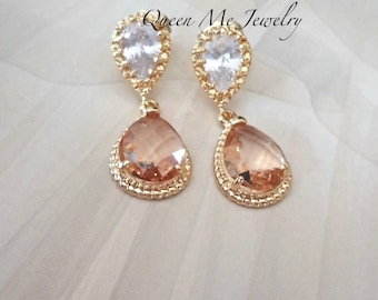 Champagne and gold earrings 14k gold over sterling posts Peach wedding earrings Brides Bridesmaids earrings Wedding Bridal Jewelry GIFT