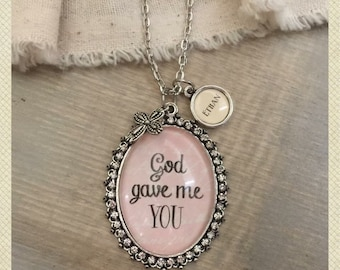 God gave me you oval glass pendant necklace with optional name charms