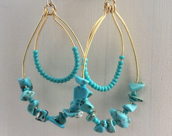 Layered turquoise hoops