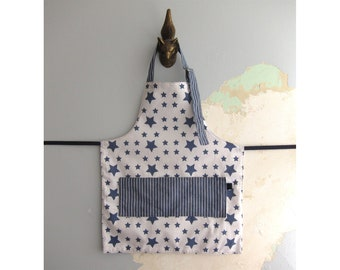 Toddler Apron with pockets - White and navy stars