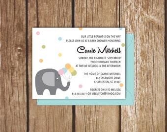 Elephant Baby Shower Invitation - A2