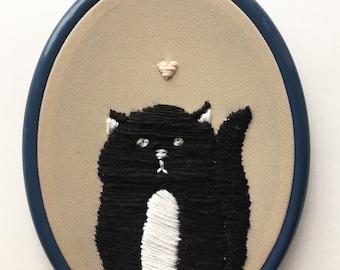 Original Kitty Love Story Embroidery Needlework Folkart Textiles Fabric Wall Art Artwork Home Decor