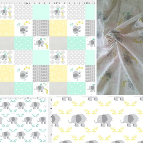 Elephant Blanket - Mint Gray Yellow Colorway | Baby and Toddler size | Girl  & Boy  | Organic Cotton Knit or Double Gauze
