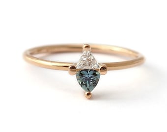 Sapphire Engagement Ring, Sapphire & Diamond Ring, Triangle Teal Sapphire Ring, Trillion Diamond Ring, Gold Sapphire Ring, Thin Gold Ring