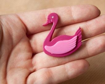 Vintage Duck Brooch Pink Plastic Pin Vintage