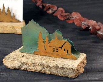 Business Card Holder - Patina Metal and Sand stone - Cabin