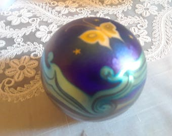 Iridescent Flume Paperweight with Butterfly