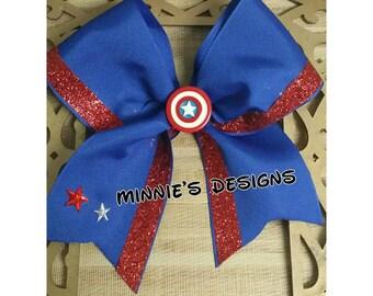 Captain American Cheer bow, Superhero shirt,Superhero hair bow,Superhero birthday,Captain American bow,Marvel hair bow,Captain American