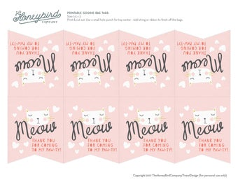 Kitty Cat Goodie Bag Tags