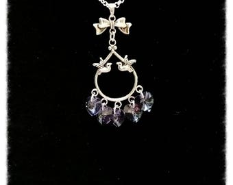 Pendant silver chain with hearts on bird charm Swarovski Crystal