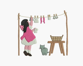 Instant download Machine Embroidery design Laundry doll clothes