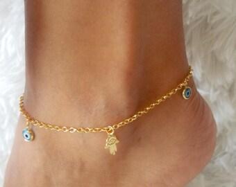 evil eye anklet, hamsa gold anklet,dainty anklet