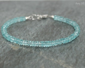 Apatite Bracelet, Apatite Jewelry, Minimalist, Layering Bracelet, Sterling Silver, Blue Gemstone Jewelry