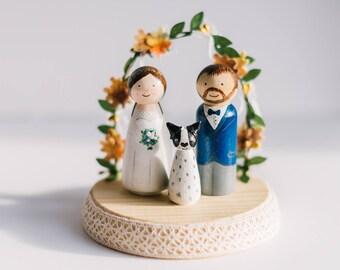 Autumn Wedding Cake topper. Personalized wedding cake toppers. Peg dolls. Custom Cake Toppers and Leaves Arch.Boho wooden Cake