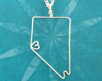 Home Means Nevada necklace, with a dainty heart, in Sterling Silver or Silver Plated