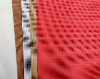"""Needlepoint Plastic Canvas/Blank/10 Mesh or 10 Holes Per Inch/Sold in Sets Of 4 Sheets/White,Lit Brown,Brown, Red/10.5"""" By 13.5"""" N"""