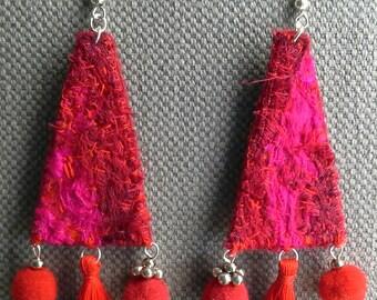 Textile earrings. Red Garance.