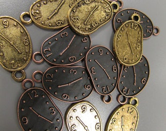 Steampunk Clock Watch charm pendant 2 colours to choose