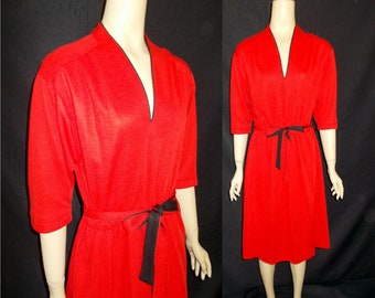 SHOWSTOPPER Red Vixen Classic Vintage 1980's Women's Sheath Dress M L