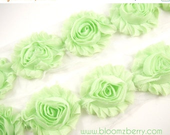 "ON SALE 30% OFF 2.5"" Shabby Rose Trim - Light Mint Color - Chiffon Trim - Hair Accessories Supplies"