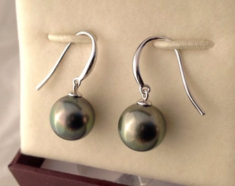Free Shipping! Tahitian South Sea Pearls 10.2mm set on 9k Solid White Gold Shepherd Hook Earrings