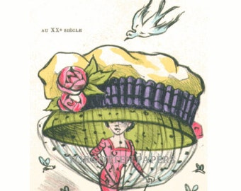 BEES ABUZZING - French FANTASY  Millinery - Wonderful Whimsical Illustrated Postcard - Huge Hat with Roses and Veil - Bird Wants to Land On