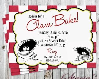 Clam Bake Invitation - Digital File - Clambake, Clam Steam - Party Invitation