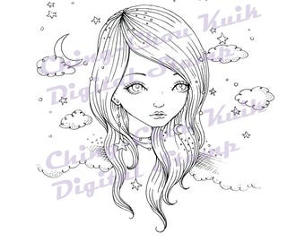 Starry - Instant Download Digital Stamp / Stary Moon Cloud Sky Coloring Line Art Fairy Girl by Ching-Chou Kuik