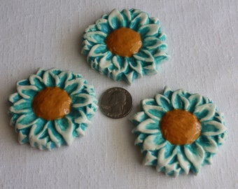 Mosaic Flower Tiles, 3 Turquoise Blue Ceramic Mosaic Daisy Flowers, Mosaic Supplies, Mosaic Tile Pieces, Item # E-1266, handmade