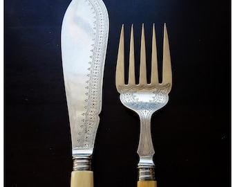 Antique Ornated Fish Servers Silver Plated Hallmarked
