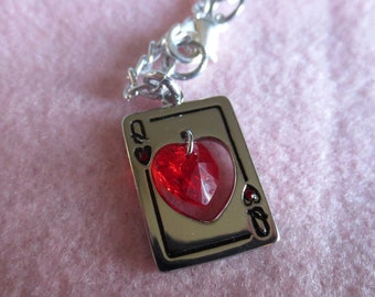 Queen of Hearts card with red heart crystal necklace