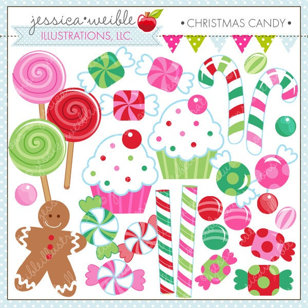 Christmas candy cute digital clipart commercial use ok zoom sciox Gallery
