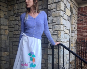 White Vintage Wrap Skirt With Pastel Flowers Size Small