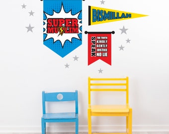 Boy's Islamic Banners, Super Muslim (Coloured), Islamic Art & Design, Decal, Wall Art, Bismillah, Decor