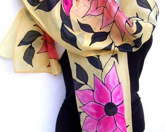 "Hand Painted Silk Scarf, Floral, Flowers Leaves Vines, Vanilla Pink Orange Black, Multicolor Silk Scarf, 71"" x 18"", Gift For Her"