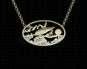 Ocean Sunset - Gold with breaching whale pendant and necklace