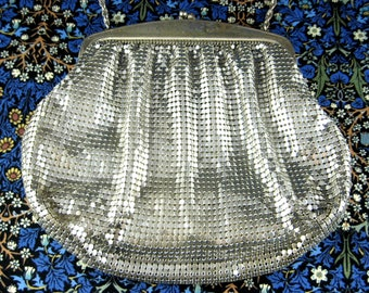 Elegant Art Deco Whiting And Davis Silver Mesh Purse Vintage 1940s Marked Glamour Convertible Evening Wedding Prom