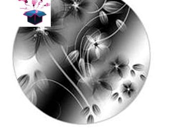 1 glass cabochons 40 mm round black ombre theme