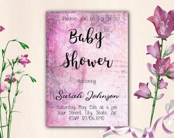 Printable Baby Shower Invitation Template, Instant Download Editable PDF, Vintage Pink Watercolor Flowers V104