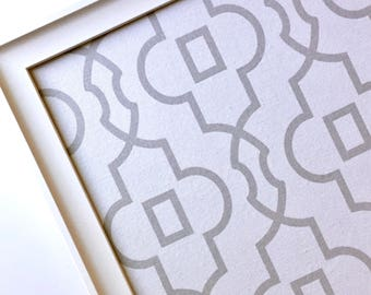 Framed magnetic bulletin board, EX LG, decorative bulletin board, office decor, magnet board, grey and white geometric fabric