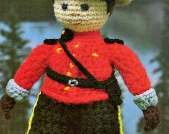 Vintage Crochet Canadian Mountie Man Pattern PDF Instant Download Amigurumi Plush Ranger RCMP Police Doll