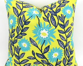 Yellow & Turquoise Pillow Cover -MANY SIZES- Daisy Throw Pillow, Navy Turquoise Euro Sham, Cushion, Sunshine Fenton Premier Prints FREESHIP