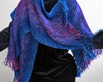 RUANA Rhapsody in Blue. Handwoven Blues and Purples.  Glamorous.