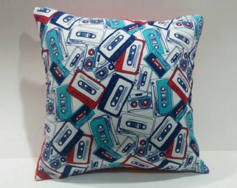 """Handmade 16"""" x 16"""" Red and Blue Cassette Tapes w/ Red Back Throw Pillow / Accent Pillow Cover"""
