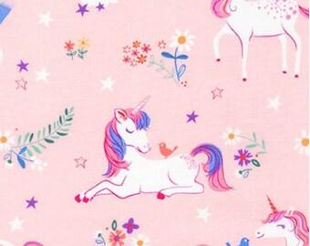 Unicorns and Rainbows on Pink from Robert Kaufman's Happy Little Unicorn Collection