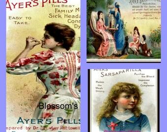 Set of Three Ayers antique ad Illustrations